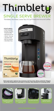 Load image into Gallery viewer, Coffee Machine- Thimblety Mini 4 in 1 Coffee Maker, Single Serve Coffee Maker for K-Cup Pods, Tea Bags, Loose Leaf Tea and Ground Coffee, Coffee Brewer Machine with 40 Oz Reservoir, Auto Shut-off