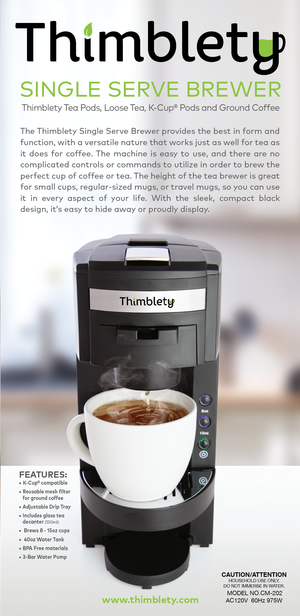 Thimblety Single Serve Tea and Coffee Brewer - K-Cup Coffee Maker - Single Serve Coffee Maker K Cup - Single Serve K Cup Coffee Maker and Tea Maker - Small Single Cup Coffee Maker- KCup Machine