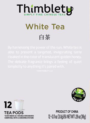 White Tea - 12 Tea Pod Pack, brew 2  cups per pod