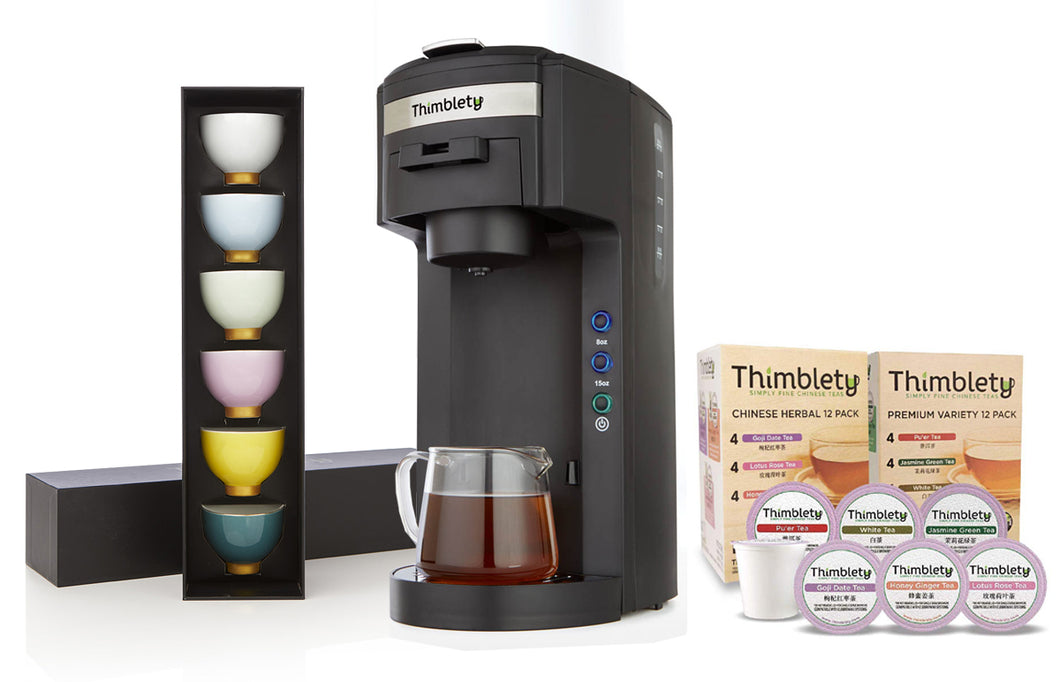 Thimblety Starter Package - Brewer + Tea Sets + Complete Variety K-Cups