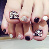 24Pcs/Pack Fake Toe Nails Tips Grids Style Black White Silver Triangle Nails