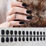 24pcs/Set Black Full Cover Matte Short Round Head Soft Pure color oval Best Fake Nails