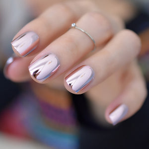 Reflective Mirror Light Soft Pink Metal Silver Acrylic Nails
