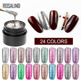 ROSALIND Shiny Platinum Chrome Nails Polish Art For Manicure Poly Gel UV Colors