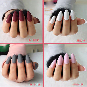 24pcs Fashion Style Pretty Fake Nails  Tips Dull Polish Matte Decorated for Fashion