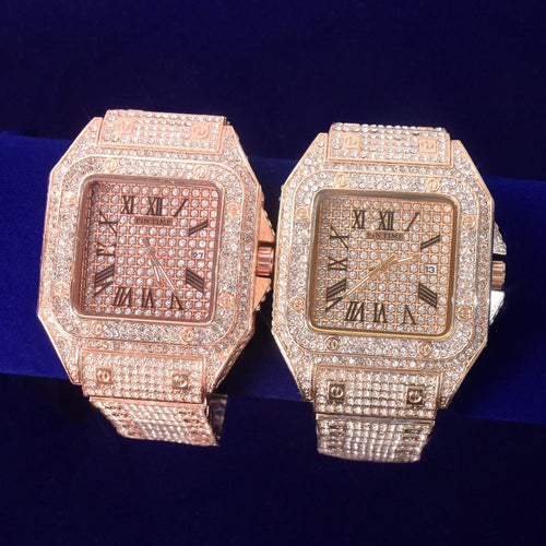 Craneur Square Iced Out Roman Numerals Watch