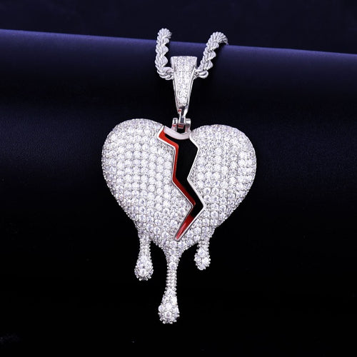 Drip Broken Iced Heart Necklace