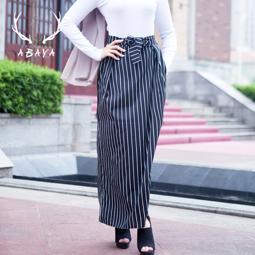 Stripe Skirts Black Pencil Skirt 2019 Fashion  Muslim Lady