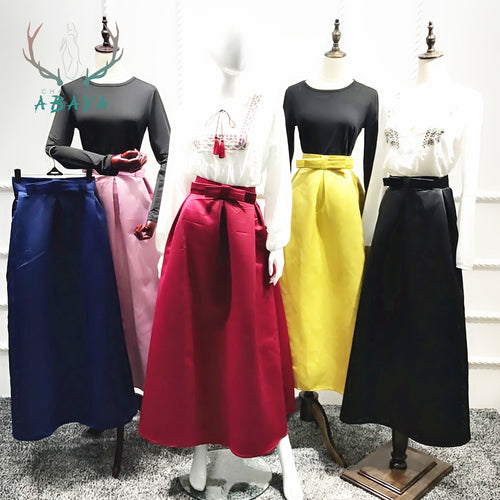 Plain Color Thick Satin Skirts 2019 Fashion Beautiful  For Women Muslim