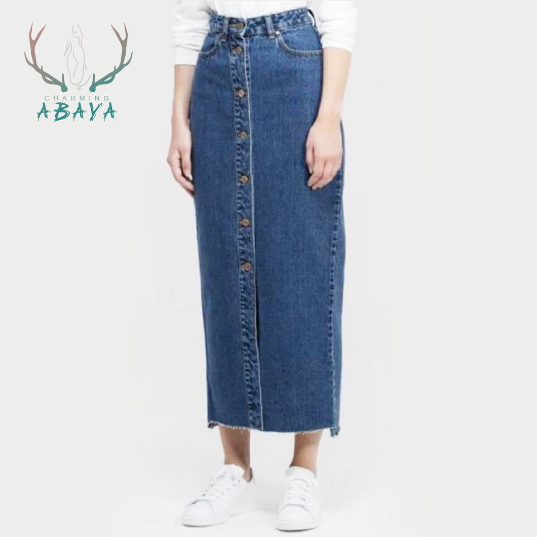Long Pencil Skirts Jeans Materials 2019 Fashion Beautiful  Muslim Women Casual Half Style Jean Skirts