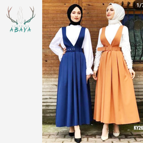 Polyester Suspender Skirts Maxi Skirts 2019 High Quality Summer Fashion Muslim