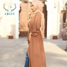 Load image into Gallery viewer, Solid Color Cardigan Abaya Dress Muslim Women Abaya