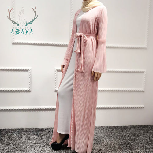 Popular Pleated Open Abaya Muslim Maxi Dress Islamic Clothing Kimono Abaya Hot Selling