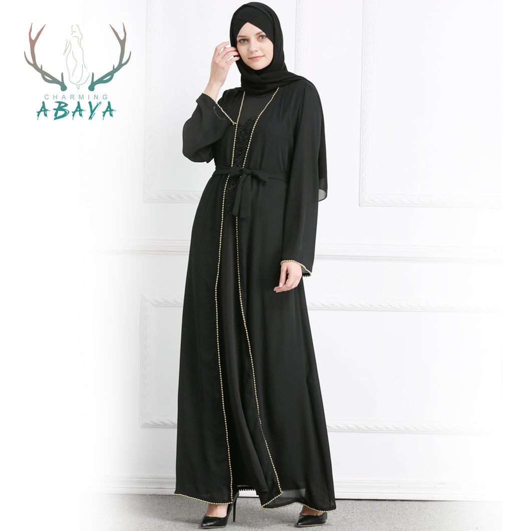 Solid Color Cardigan Abaya Dress Muslim Women Abaya