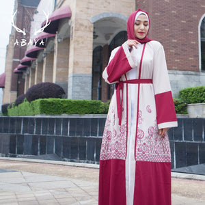 Polyester And Spandex  Red Muslim Dress Dubai Abaya 2019  Fashion Excellent Quality
