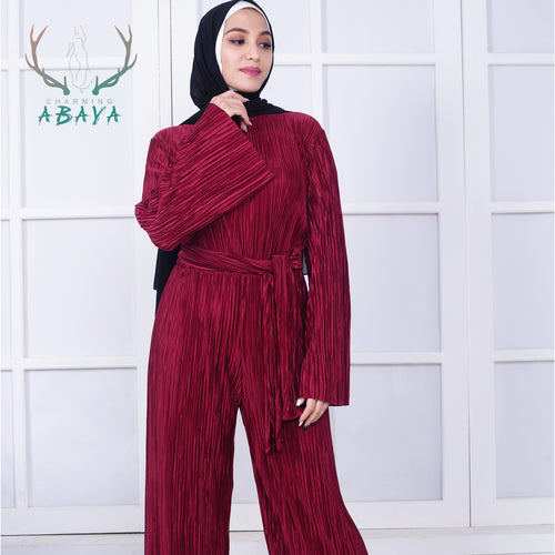 Solid Color Pleated Maxi Muslim Jumpsuit For Women Hot Sale High Quality