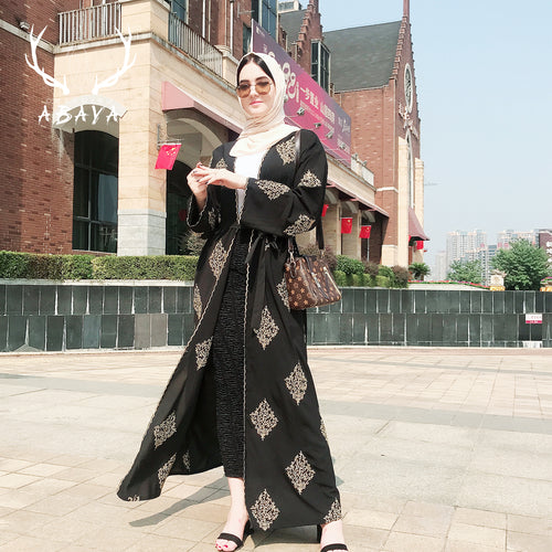 Muslim Prayer Open Dress Abaya High Fashion Gold Embroidery