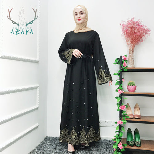Pearl And Lace Cardigan Dress 2019 Latest Middle East   Muslim Clothes Kimono Abaya With  Women Abaya Islamic Clothing