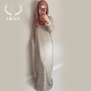 Warm Loose Dress Knitted Cotton Pearl Islamic Clothing Women Casual Abaya Turkish