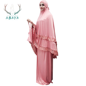 Robes Lace Skirts Scarf Tops Big-Swing Prayer 2019 Muslim Abaya