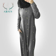 Load image into Gallery viewer, Warm Loose Dress Knitted Cotton Pearl Islamic Clothing Women Casual Abaya Turkish
