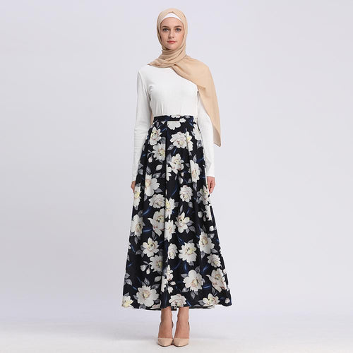 Flower Crepe Skirts For Muslim Lady 2019 Fashion