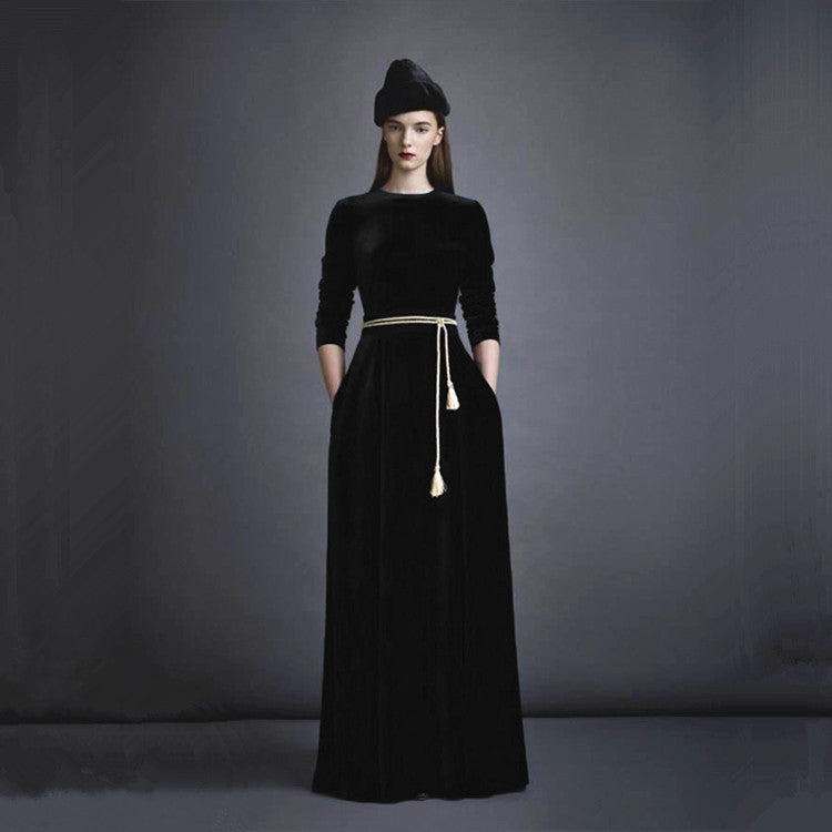 Winter Super Soft Velvet Fabric  Dress With Gold Belt Warm Women Long Abaya Muslim