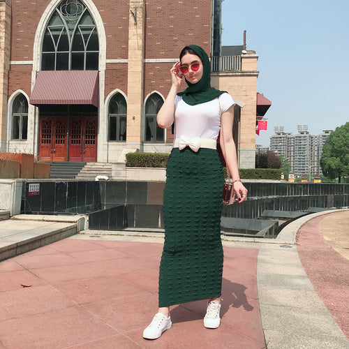 Long Pencil Skirt Knit Material 2019 New Arrival Fashion Beautiful  Muslim Women Skirt