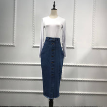 Load image into Gallery viewer, Long Pencil Skirts Jeans Materials 2019 Fashion Beautiful  Muslim Women Casual Half Style Jean Skirts