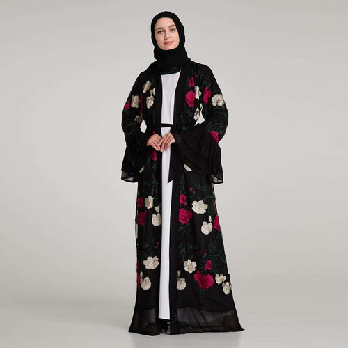 Elegant Full Embroidery Floral Printed Muslims Abaya
