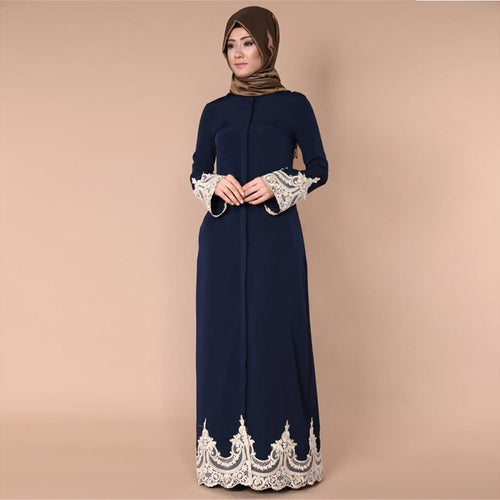 Modern Lace Coat Button Open Jubah Abaya Dress Elegant Women Islamic Turkish