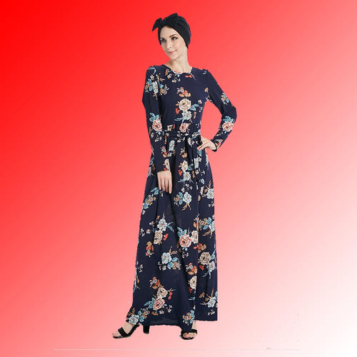 Belt Print Flower Everyday Wear Dubai Abaya Dress