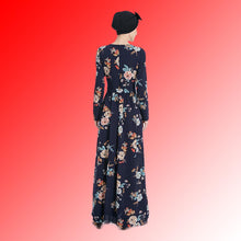 Load image into Gallery viewer, Belt Print Flower Everyday Wear Dubai Abaya Dress