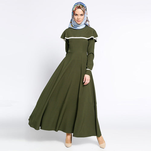 Muslim Islamic long Sleeve A-line umbrella and Flare Long Dresses, Women's