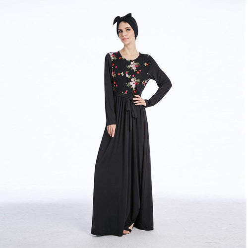 Floral Embroidered Muslim Dress Women Elegant Muslim Abaya Dress Long Sleeve