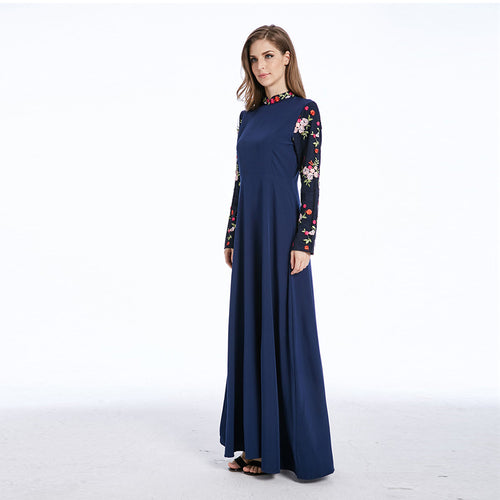 Muslim Women embroidery Robe,Fashion Ethnic Kaftan Abaya Islamic Middle East Dress