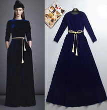 Load image into Gallery viewer, Winter Super Soft Velvet Fabric  Dress With Gold Belt Warm Women Long Abaya Muslim