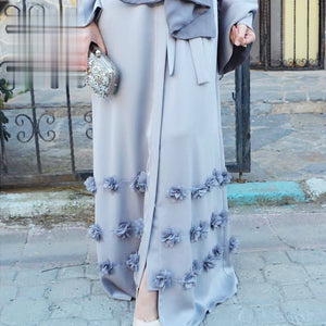 3D Flower Craft Material Muslim Dresses Abaya  Islamic Clothing High Quality Turkish