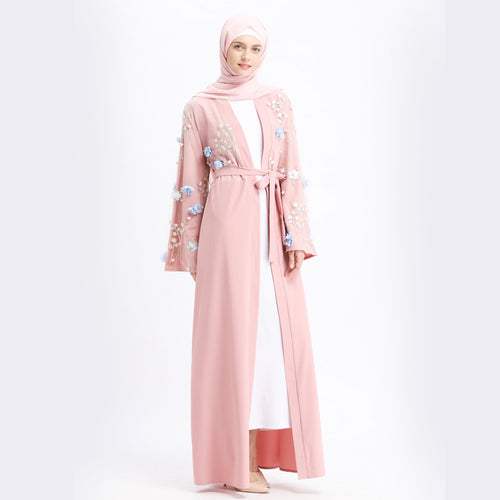 Flower Embroidery Cardigan Wedding Party Dress New Style Islamic Women Clothing Abaya Muslim