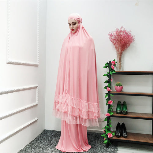 2 Piece Women Prayer Abaya Lace Dress Ramadan Arab Islamic Muslim Loose Abaya