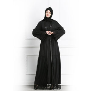 High Grade Black Cardigan Dubai  Abaya Kimono For Muslim Women