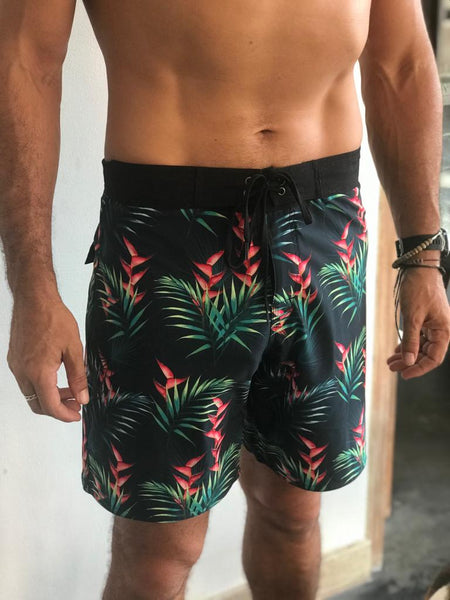 Recycled water bottle boardies.  Bird of paradise