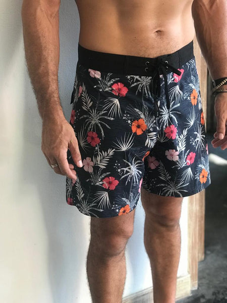 Recycled water bottle boardies.  Hibiscus