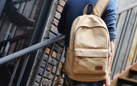 Canvas USB Charging Backpack Worn