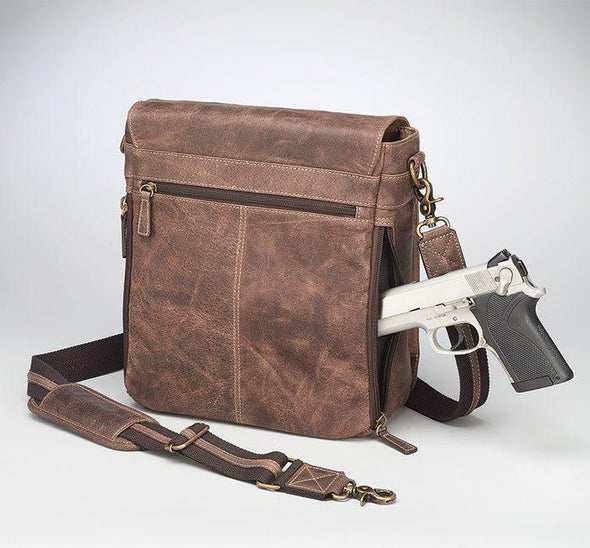 Conceal Carry Purse GTM/CZY-02 Vintage Messenger Bag by Gun Tote'n Mamas in distressed brown buffalo leather