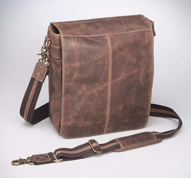 Conceal Carry Purse GTM/CZY-02 Vintage Messenger Bag by Gun Tote'n Mamas in distressed brown buffalo leather.