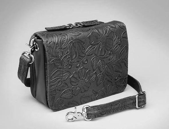 Conceal Carry Purse GTM-15 Cross Body Organizer by Gun Tote'n Mamas in leather colors of Black Tooled.