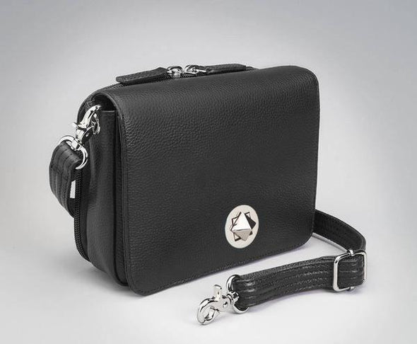 Conceal Carry Purse GTM-15 Cross Body Organizer by Gun Tote'n Mamas in leather colors of Black Lambskin.