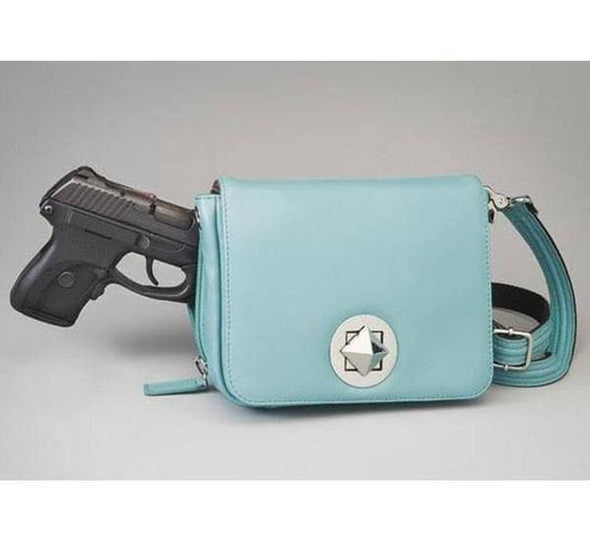 Conceal Carry Purse GTM-15 Cross Body Organizer by Gun Tote'n Mamas in leather colors of Ice Blue Lambskin.