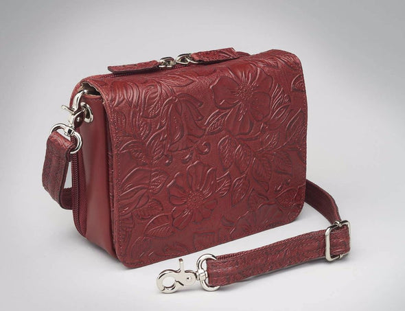 Conceal Carry Purse GTM-15 Cross Body Organizer by Gun Tote'n Mamas in leather colors of Red Tooled.